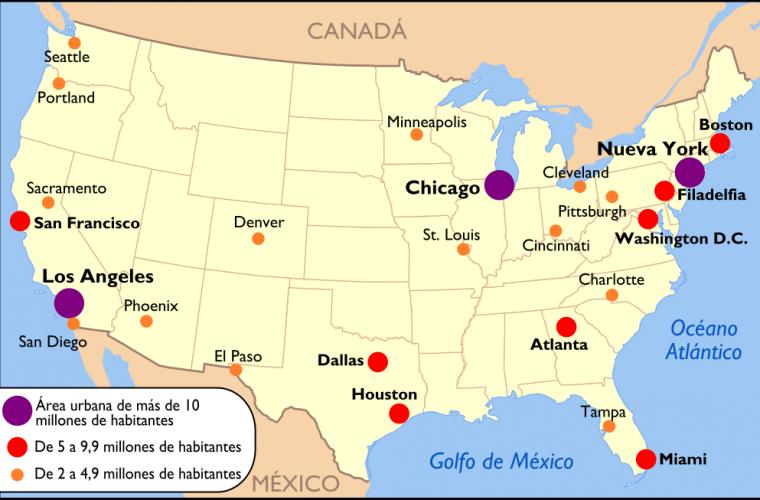 Ciudades más pobladas de Estados Unidos