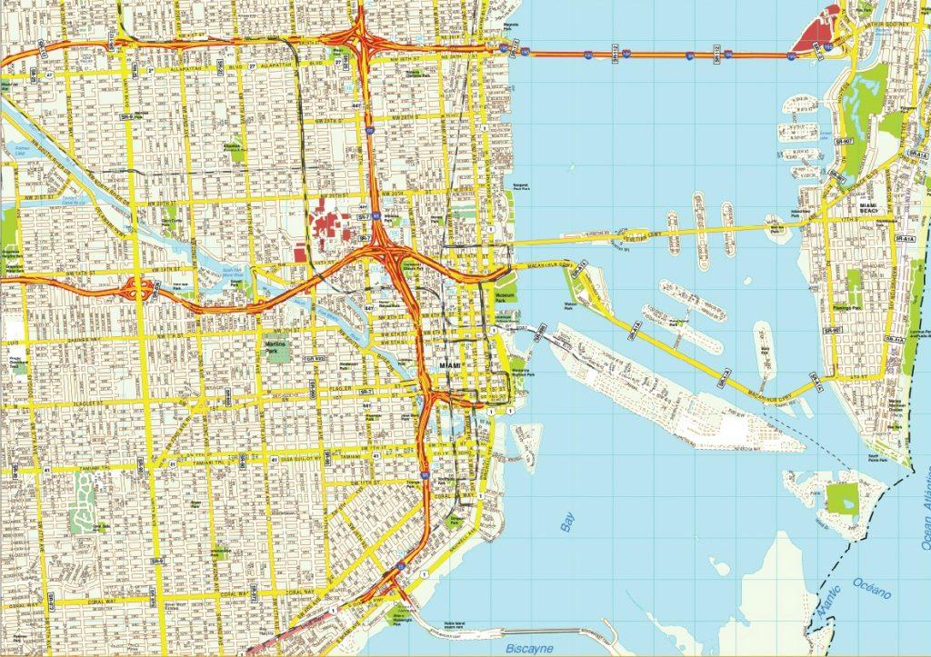 Miami Mapa Estados Unidos.Mapa De Miami Turismoeeuu Plano Condados Calles