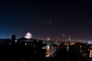 Fuegos artificiales por la celebración del Día de la independencia de Estados Unidos.