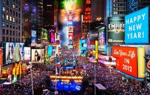 Celebración del año nuevo en Nueva York.