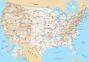 Mapa fisico de los Estados Unidos
