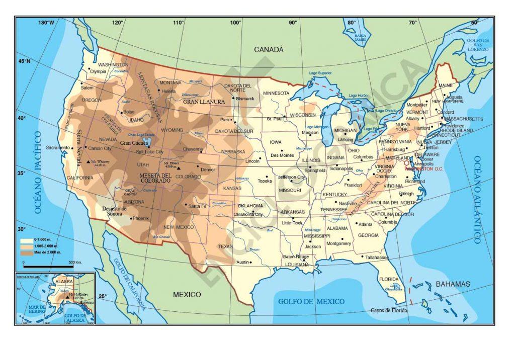 Mapa De Estados Unidos TurismoEEUU - Mapa de usa