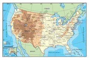 Mapa geografico de Estados Unidos